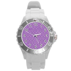HEXAGON1 WHITE MARBLE & PURPLE DENIM Round Plastic Sport Watch (L)