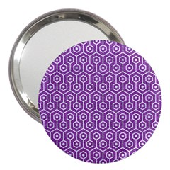 HEXAGON1 WHITE MARBLE & PURPLE DENIM 3  Handbag Mirrors