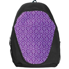 HEXAGON1 WHITE MARBLE & PURPLE DENIM Backpack Bag