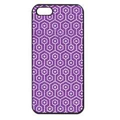 HEXAGON1 WHITE MARBLE & PURPLE DENIM Apple iPhone 5 Seamless Case (Black)