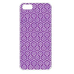 HEXAGON1 WHITE MARBLE & PURPLE DENIM Apple iPhone 5 Seamless Case (White)