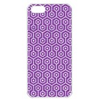 HEXAGON1 WHITE MARBLE & PURPLE DENIM Apple iPhone 5 Seamless Case (White) Front