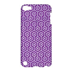 HEXAGON1 WHITE MARBLE & PURPLE DENIM Apple iPod Touch 5 Hardshell Case