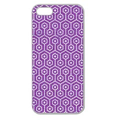 HEXAGON1 WHITE MARBLE & PURPLE DENIM Apple Seamless iPhone 5 Case (Clear)