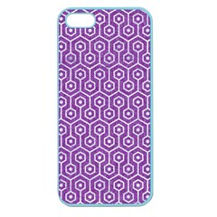HEXAGON1 WHITE MARBLE & PURPLE DENIM Apple Seamless iPhone 5 Case (Color)