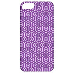 HEXAGON1 WHITE MARBLE & PURPLE DENIM Apple iPhone 5 Classic Hardshell Case