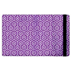 HEXAGON1 WHITE MARBLE & PURPLE DENIM Apple iPad 3/4 Flip Case