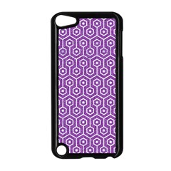 HEXAGON1 WHITE MARBLE & PURPLE DENIM Apple iPod Touch 5 Case (Black)