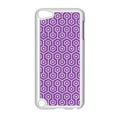 Hexagon1 White Marble & Purple Denim Apple Ipod Touch 5 Case (white) by trendistuff