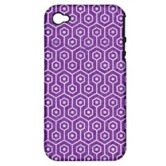 HEXAGON1 WHITE MARBLE & PURPLE DENIM Apple iPhone 4/4S Hardshell Case (PC+Silicone)