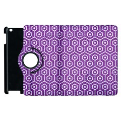 Hexagon1 White Marble & Purple Denim Apple Ipad 2 Flip 360 Case by trendistuff