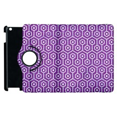 HEXAGON1 WHITE MARBLE & PURPLE DENIM Apple iPad 3/4 Flip 360 Case