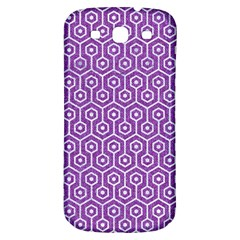 HEXAGON1 WHITE MARBLE & PURPLE DENIM Samsung Galaxy S3 S III Classic Hardshell Back Case