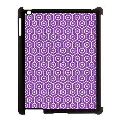 Hexagon1 White Marble & Purple Denim Apple Ipad 3/4 Case (black) by trendistuff