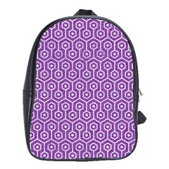 HEXAGON1 WHITE MARBLE & PURPLE DENIM School Bag (XL)