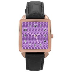 HEXAGON1 WHITE MARBLE & PURPLE DENIM Rose Gold Leather Watch