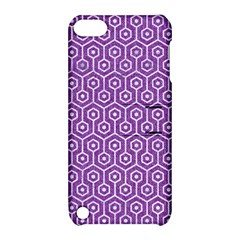 Hexagon1 White Marble & Purple Denim Apple Ipod Touch 5 Hardshell Case With Stand by trendistuff