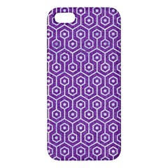 HEXAGON1 WHITE MARBLE & PURPLE DENIM Apple iPhone 5 Premium Hardshell Case