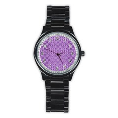 HEXAGON1 WHITE MARBLE & PURPLE DENIM Stainless Steel Round Watch