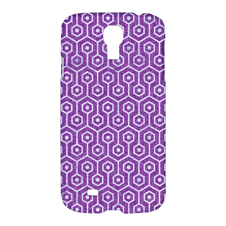 HEXAGON1 WHITE MARBLE & PURPLE DENIM Samsung Galaxy S4 I9500/I9505 Hardshell Case