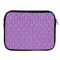 Hexagon1 White Marble & Purple Denim Apple Ipad 2/3/4 Zipper Cases by trendistuff