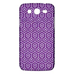 HEXAGON1 WHITE MARBLE & PURPLE DENIM Samsung Galaxy Mega 5.8 I9152 Hardshell Case