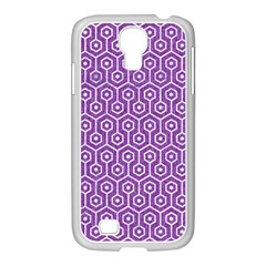 HEXAGON1 WHITE MARBLE & PURPLE DENIM Samsung GALAXY S4 I9500/ I9505 Case (White)