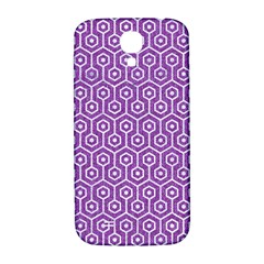 HEXAGON1 WHITE MARBLE & PURPLE DENIM Samsung Galaxy S4 I9500/I9505  Hardshell Back Case