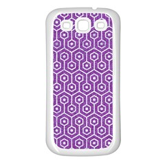 HEXAGON1 WHITE MARBLE & PURPLE DENIM Samsung Galaxy S3 Back Case (White)