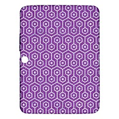 Hexagon1 White Marble & Purple Denim Samsung Galaxy Tab 3 (10 1 ) P5200 Hardshell Case