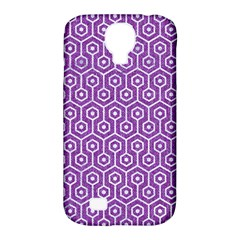 HEXAGON1 WHITE MARBLE & PURPLE DENIM Samsung Galaxy S4 Classic Hardshell Case (PC+Silicone)