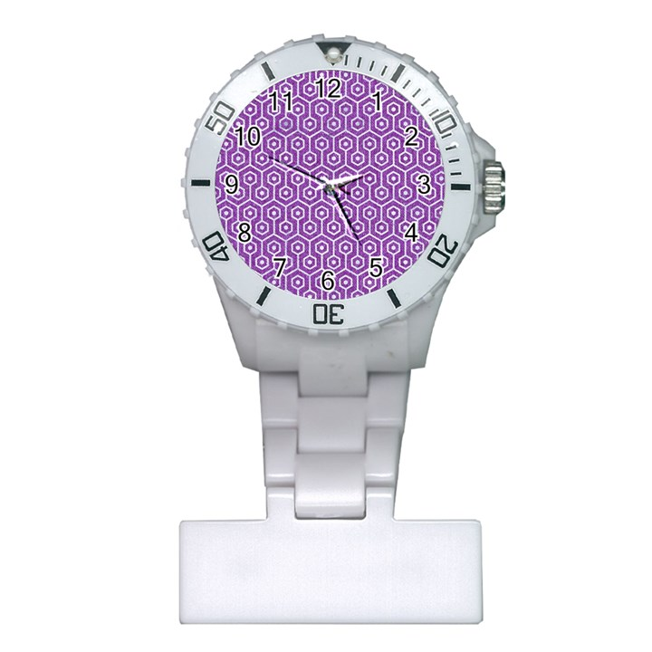 HEXAGON1 WHITE MARBLE & PURPLE DENIM Plastic Nurses Watch