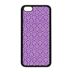 HEXAGON1 WHITE MARBLE & PURPLE DENIM Apple iPhone 5C Seamless Case (Black)