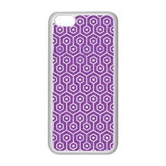 HEXAGON1 WHITE MARBLE & PURPLE DENIM Apple iPhone 5C Seamless Case (White)