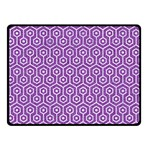 HEXAGON1 WHITE MARBLE & PURPLE DENIM Double Sided Fleece Blanket (Small)  45 x34 Blanket Back