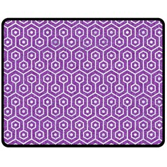 HEXAGON1 WHITE MARBLE & PURPLE DENIM Double Sided Fleece Blanket (Medium)