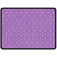 HEXAGON1 WHITE MARBLE & PURPLE DENIM Double Sided Fleece Blanket (Large)