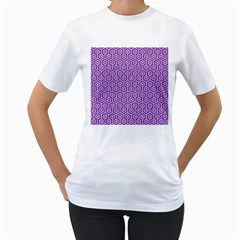 HEXAGON1 WHITE MARBLE & PURPLE DENIM Women s T-Shirt (White)