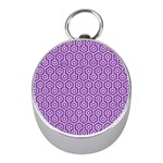 HEXAGON1 WHITE MARBLE & PURPLE DENIM Mini Silver Compasses Front
