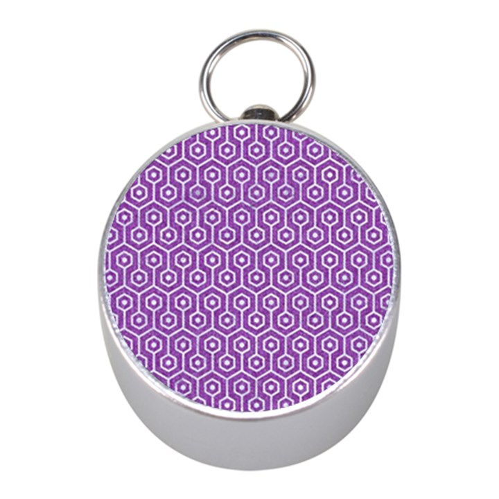 HEXAGON1 WHITE MARBLE & PURPLE DENIM Mini Silver Compasses