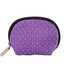 HEXAGON1 WHITE MARBLE & PURPLE DENIM Accessory Pouches (Small)