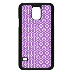 Hexagon1 White Marble & Purple Denim Samsung Galaxy S5 Case (black)