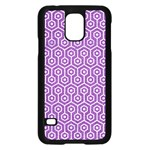 HEXAGON1 WHITE MARBLE & PURPLE DENIM Samsung Galaxy S5 Case (Black) Front