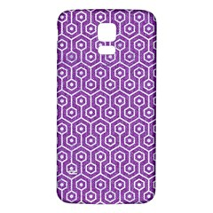 HEXAGON1 WHITE MARBLE & PURPLE DENIM Samsung Galaxy S5 Back Case (White)