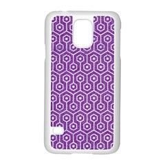 HEXAGON1 WHITE MARBLE & PURPLE DENIM Samsung Galaxy S5 Case (White)