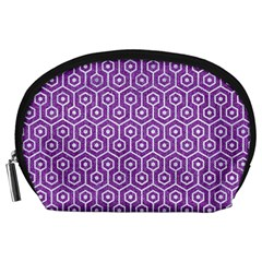 HEXAGON1 WHITE MARBLE & PURPLE DENIM Accessory Pouches (Large)