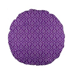 HEXAGON1 WHITE MARBLE & PURPLE DENIM Standard 15  Premium Flano Round Cushions