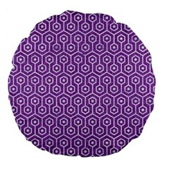 HEXAGON1 WHITE MARBLE & PURPLE DENIM Large 18  Premium Flano Round Cushions