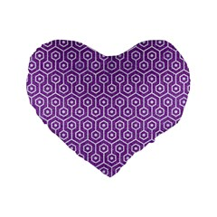 HEXAGON1 WHITE MARBLE & PURPLE DENIM Standard 16  Premium Flano Heart Shape Cushions