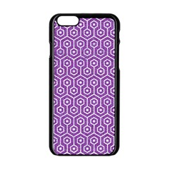 HEXAGON1 WHITE MARBLE & PURPLE DENIM Apple iPhone 6/6S Black Enamel Case